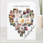 """Heart Photo Collage Personalized Script Birthday Card<br><div class=""""desc"""">Say Happy Birthday with a love heart photo collage, personalized birthday card. The photo template is set up for you to add your pictures, working in rows from top to bottom. The photo collage holds 29 photos which are displayed in a mix of portrait, landscape and square / instagram formats....</div>"""