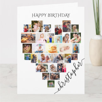 Heart Photo Collage Personalized Script Birthday Card