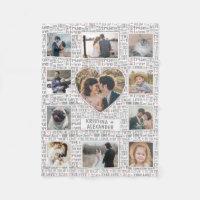 Heart Photo Collage True Love Valentine or Wedding Fleece Blanket