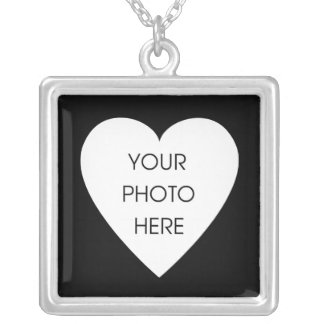 Heart Photo Frame - Black Silver Plated Necklace