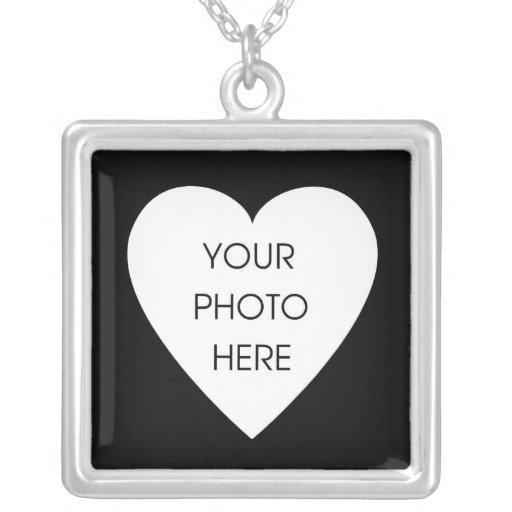 Heart Photo Frame - Black Square Pendant Necklace