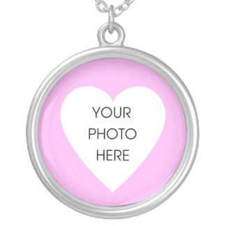 Heart Photo Frame - Pink Round Pendant Necklace