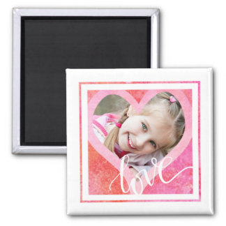 Heart Photo Frame with LOVE | Watercolor Pink/Red Magnet