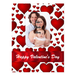 Heart photo template Valentines day Postcard