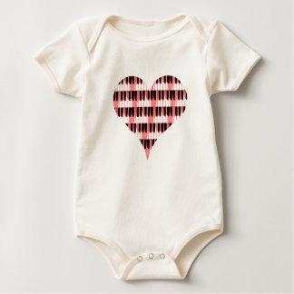 Heart Piano Baby Bodysuit