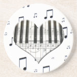 Heart Piano Keyboard and Music Notes Drink Coasters