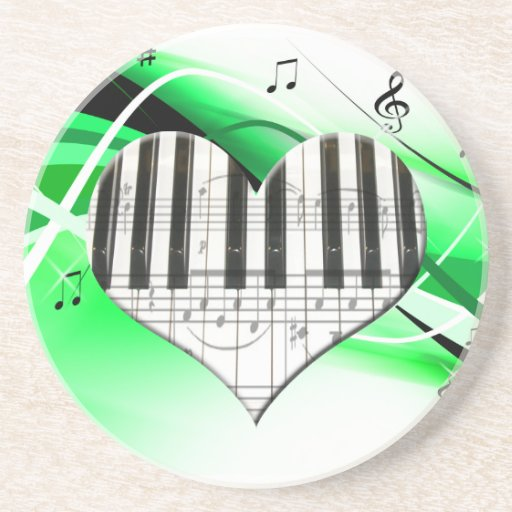 Heart Piano Keyboard and Music Notes Coasters
