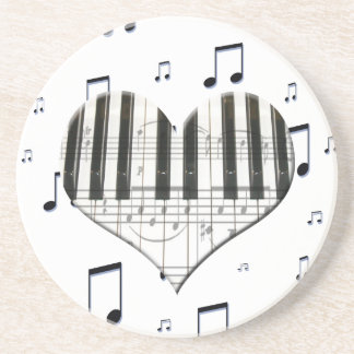 Heart Piano Keyboard and Music Notes Drink Coaster