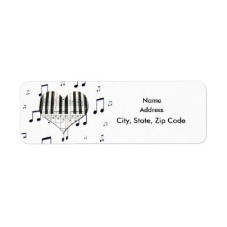Heart Piano Keyboard and Music Notes Label