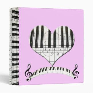 Heart Piano or Organ Keyboard & Notes 3 Ring Binders
