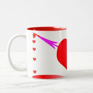 heart pierced by arrow Two-Tone coffee mug