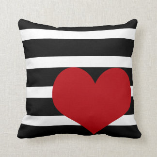 Heart Pillow With Black and White Stripes | Cute!