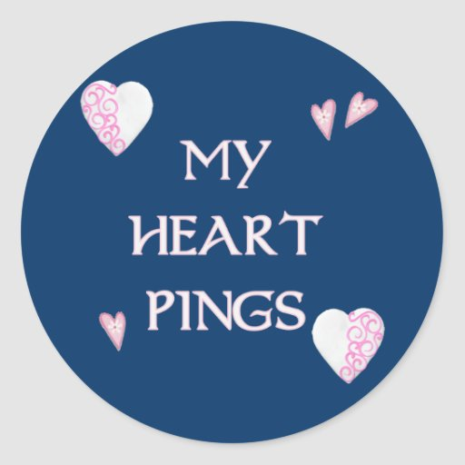 Heart Pings Ping Pong Classic Round Sticker