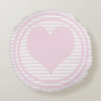 Heart & Pink and white stripes Throw Pillow