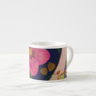 Heart & Pink Flowers Espresso Mug 6 Oz Ceramic Espresso Cup