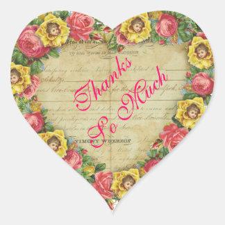 Heart Pink Roses & Yellow Flower Faeries Ephemera Heart Sticker