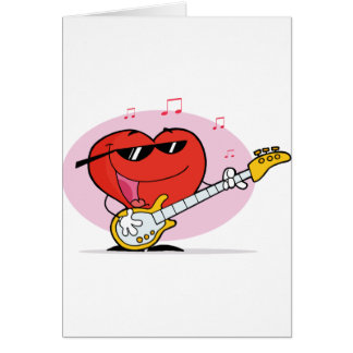 Heart playing a guitar card