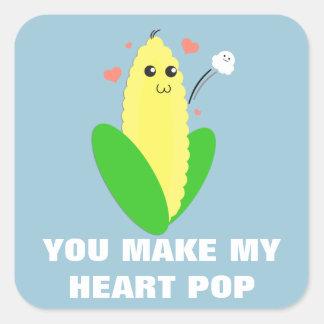 Heart Popper Square Sticker