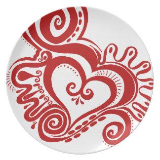 Heart Power - red Melamine Plate