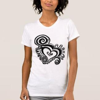 Heart Power Sheer V-Neck T-shirts