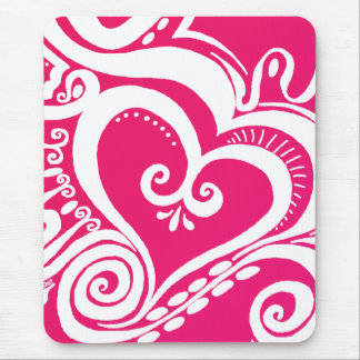 Heart Power - Valentine pink Mouse Pad