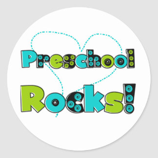 Heart Preschool Rocks Classic Round Sticker