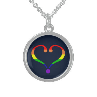 Heart Pride and Rainbow and love of San Valentin Sterling Silver Necklace