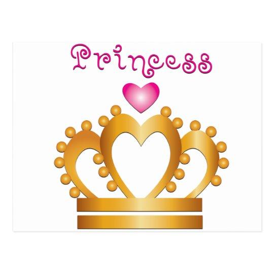 Heart Princess Crown Postcard