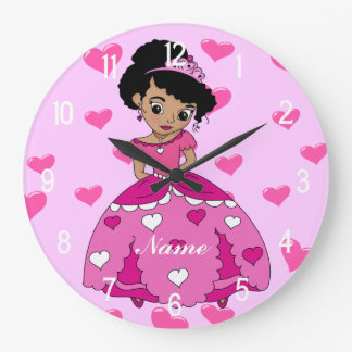 Heart Princess Illustration Large Clock