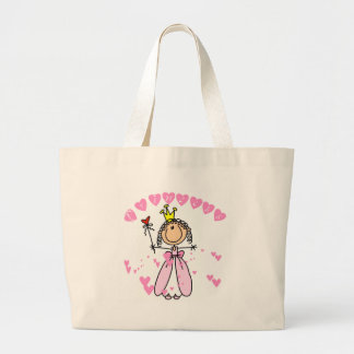 Heart Princess Stick Figure Tshirts and Gifts Large Tote Bag