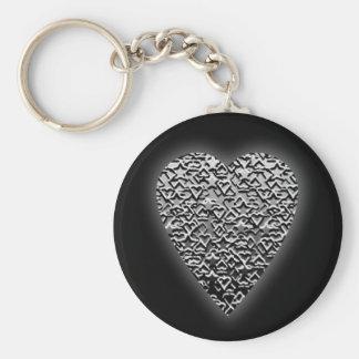 Heart. Printed Gray Pattern. Key Chains