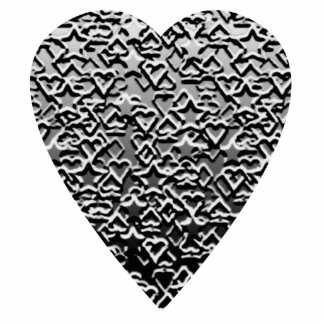 Heart. Printed Gray Pattern. Statuette