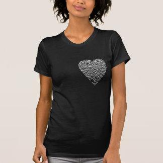 Heart. Printed Gray Pattern. T Shirt