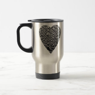 Heart. Printed Gray Pattern. Travel Mug