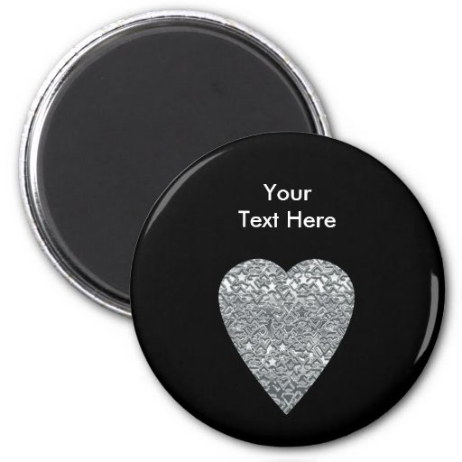 Heart. Printed Light Gray and Mid Gray Pattern. 2 Inch Round Magnet