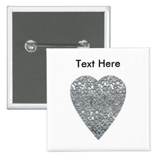 Heart. Printed Light Gray and Mid Gray Pattern. 2 Inch Square Button