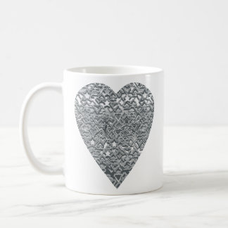 Heart. Printed Light Gray and Mid Gray Pattern. Coffee Mug
