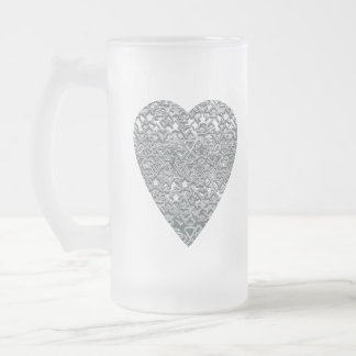 Heart. Printed Light Gray and Mid Gray Pattern. Frosted Glass Beer Mug