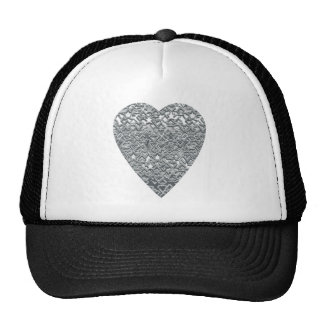 Heart. Printed Light Gray and Mid Gray Pattern. Trucker Hat