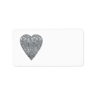 Heart. Printed Light Gray and Mid Gray Pattern. Personalized Address Labels