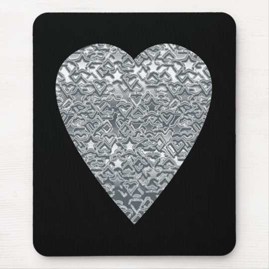 Heart. Printed Light Gray and Mid Gray Pattern. Mouse Pad
