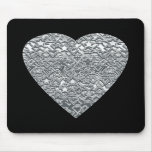 Heart. Printed Light Gray and Mid Gray Pattern. Mouse Pads