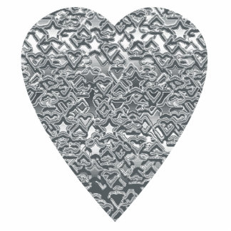 Heart. Printed Light Gray and Mid Gray Pattern. Photo Sculpture Button