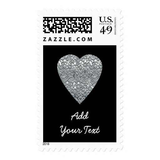 Heart. Printed Light Gray and Mid Gray Pattern. Postage Stamp