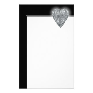 Heart. Printed Light Gray and Mid Gray Pattern. Stationery Design