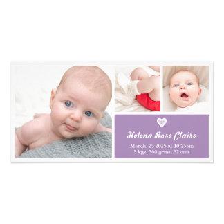Heart Purple Birth Announcement Photo Card