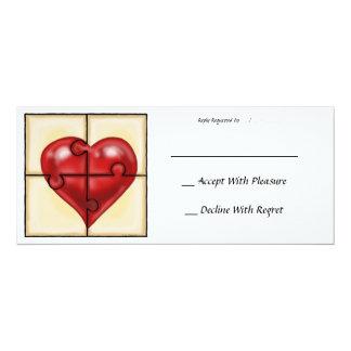 Heart Puzzle 4x9.25 Paper Invitation Card