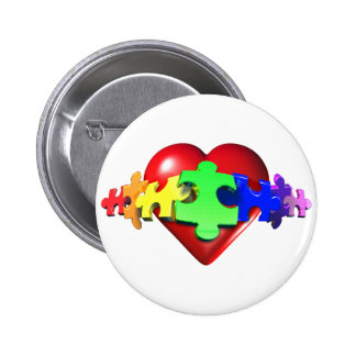 Heart Puzzle Links 2 Inch Round Button