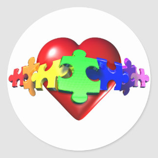 Heart Puzzle Links Classic Round Sticker