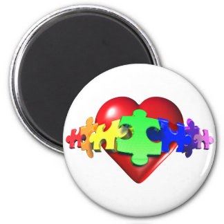 Heart Puzzle Links Fridge Magnets
